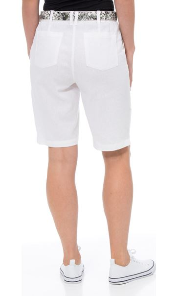 Anna Rose Belted Linen Blend Shorts White - Gallery Image 2