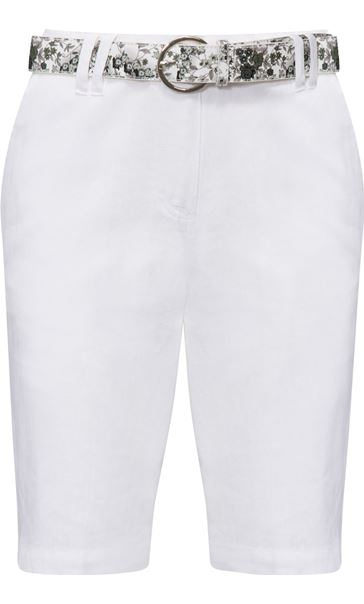 Anna Rose Belted Linen Blend Shorts White - Gallery Image 3