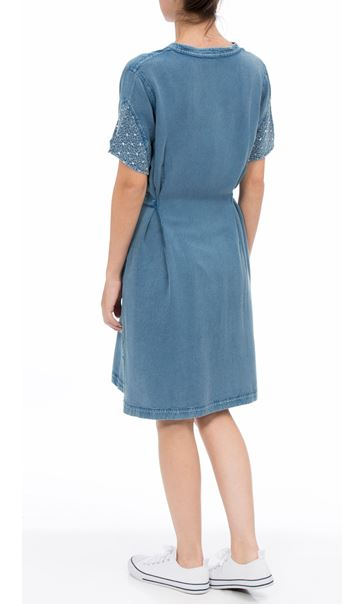 Embroidered Washed Short Sleeve Tunic Lt Denim - Gallery Image 2
