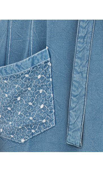 Embroidered Washed Short Sleeve Tunic Lt Denim - Gallery Image 3