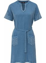 Embroidered Washed Short Sleeve Tunic Lt Denim - Gallery Image 4
