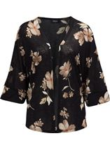 Floral Print Cover Up Black/Red - Gallery Image 1