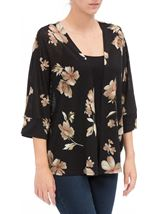 Floral Print Cover Up Black/Red - Gallery Image 2