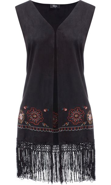 Embroidered Suedette Waistcoat Black/Red