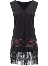 Embroidered Suedette Waistcoat