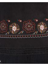 Embroidered Suedette Waistcoat Black/Red - Gallery Image 4