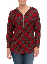 Tartan Brushed Knit Long Sleeve Tunic Red - Gallery Image 2
