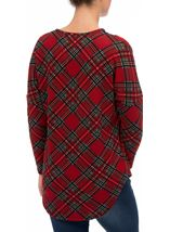 Tartan Brushed Knit Long Sleeve Tunic Red - Gallery Image 3