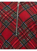 Tartan Brushed Knit Long Sleeve Tunic Red - Gallery Image 4