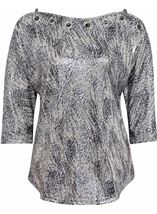 Eyelet Cold Shoulder Spangle Top Silver - Gallery Image 1