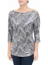 Eyelet Cold Shoulder Spangle Top Silver - Gallery Image 2