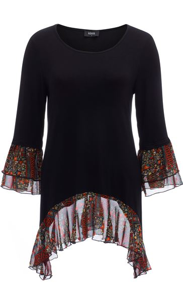 Contrast Dip Hem Round Neck Tunic Black/Red