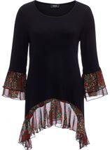 Contrast Dip Hem Round Neck Tunic Black/Red - Gallery Image 1