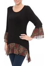 Contrast Dip Hem Round Neck Tunic Black/Red - Gallery Image 2