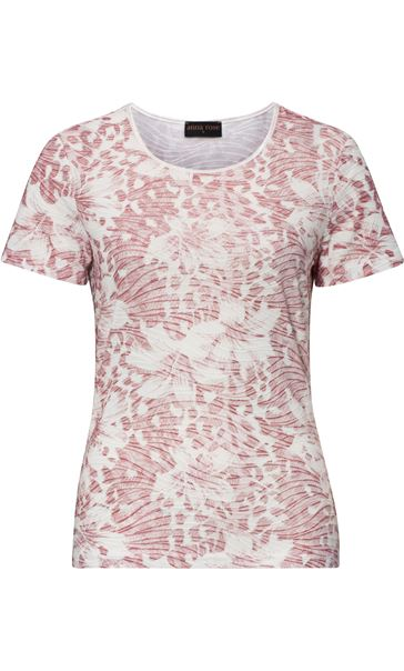 Anna Rose Printed Short Sleeve Top Magenta/Ivory