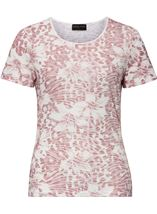 Anna Rose Printed Short Sleeve Top Magenta/Ivory - Gallery Image 1