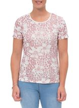 Anna Rose Printed Short Sleeve Top Magenta/Ivory - Gallery Image 2