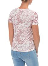 Anna Rose Printed Short Sleeve Top Magenta/Ivory - Gallery Image 3