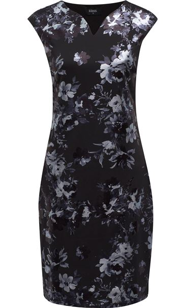 Floral Foil Printed Midi Scuba Dress Black