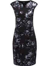 Floral Foil Printed Midi Scuba Dress Black - Gallery Image 1