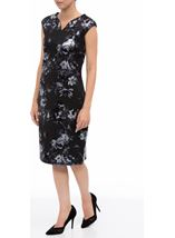 Floral Foil Printed Midi Scuba Dress Black - Gallery Image 2