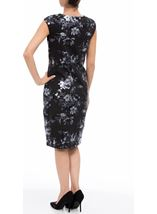 Floral Foil Printed Midi Scuba Dress Black - Gallery Image 3