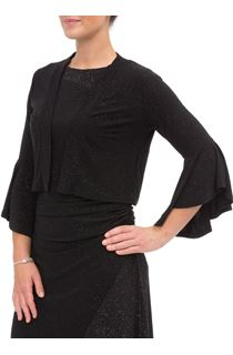 Bell Sleeve Sparkle Open Cover Up - Black