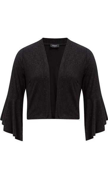 Bell Sleeve Sparkle Open Cover Up Black
