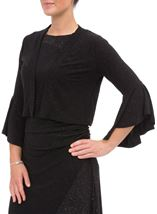 Bell Sleeve Sparkle Open Cover Up Black - Gallery Image 2