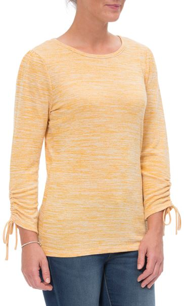 Ruched Long Sleeve Knit Top Mustard