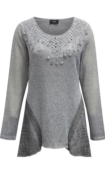Dipped Hem Layered Knit Tunic Grey