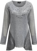 Dipped Hem Layered Knit Tunic Grey - Gallery Image 1