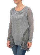 Dipped Hem Layered Knit Tunic Grey - Gallery Image 2