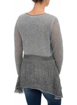 Dipped Hem Layered Knit Tunic Grey - Gallery Image 3