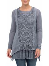 Long Sleeve Layered Knit Dip Hem Top Blue - Gallery Image 2