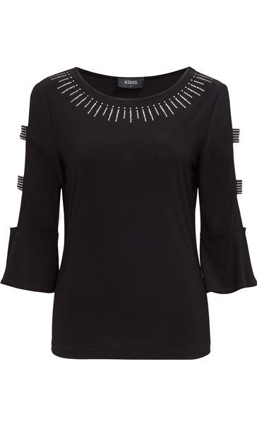 Embellished Three Quarter Sleeve Top Black
