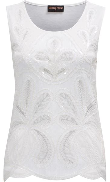 Anna Rose Embellished Sleeveless Top Ivory
