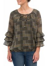 Checked Georgette Layered Sleeve Top Black/Mustard - Gallery Image 2