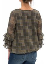 Checked Georgette Layered Sleeve Top Black/Mustard - Gallery Image 3