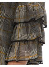 Checked Georgette Layered Sleeve Top Black/Mustard - Gallery Image 4