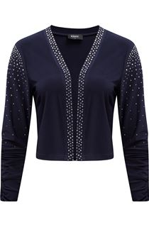 Embellished Long Sleeve Open Cover Up - Midnight
