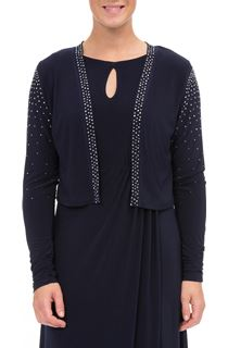 Embellished Long Sleeve Open Cover Up - Blue