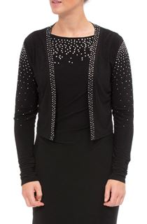 Embellished Long Sleeve Open Cover Up - Black