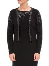 Embellished Long Sleeve Open Cover Up Black - Gallery Image 2