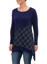 Checked Trim Dip Hem Tunic Black/Blue - Gallery Image 1