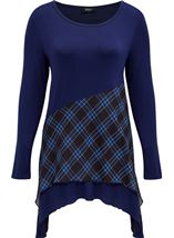 Checked Trim Dip Hem Tunic Black/Blue - Gallery Image 3