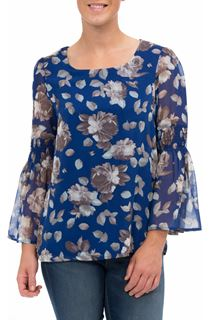 Smocked Long Sleeve Floral Georgette Top