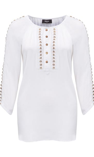 Eyelet Trim Crinkle Loose Top White