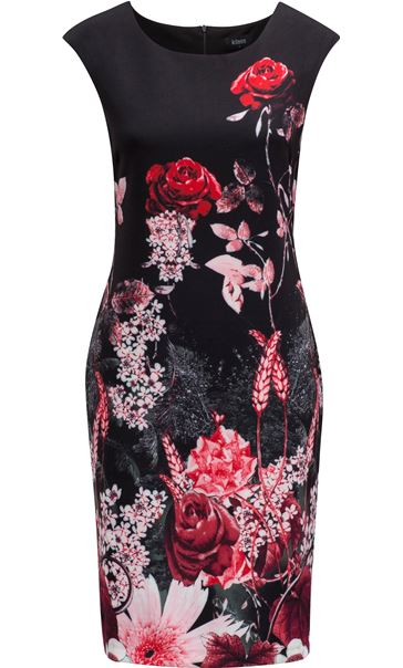 Garden Print Sleeveless Midi Dress Black/Red