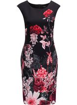 Garden Print Sleeveless Midi Dress Black/Red - Gallery Image 1
